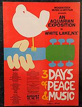 Woodstock Festival: concert poster, signed by Grace Slick