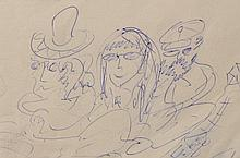The Beatles / John Lennon: original ballpoint pen drawing, 1979