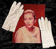 Joan Fontaine (1917-2013) American Actress, pair of personally owned and worn white gloves with an autographed photograph