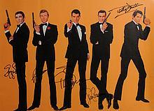 James Bond: Autographed illustration of five Bond actors