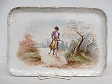 Limoges Porcelain Tray With Female Cyclist