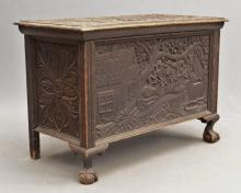 19th c. Folk Art Carved Blanket Box