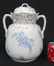 Ironstone Two Handled Covered Pot