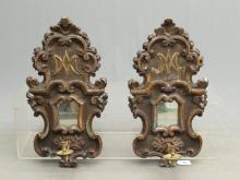 Pair Italian Wooden Wall Sconces