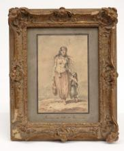 French Watercolor Of Woman And Child