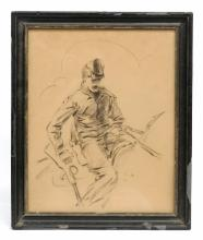 Charcoal Sketch Of Soldier Signed
