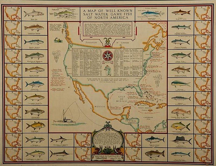 Richard E. Bishop (1887-1975)  Map of Well-Known Saltwater Gamefish