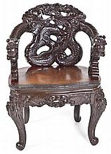 Chinese Carved Rosewood Dragon Chair