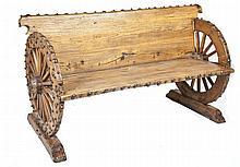 Western Wagon Wheel Bench