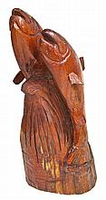 Large Wood Carving of Two Salmon