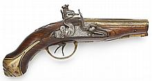 Early 18th C. Double Brass Barreled Coat Pistol