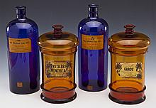 2 Prs of Antique Apothecary Jars & Bottles