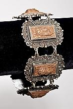 Mexican Sterling & Wood Cameo Bracelet