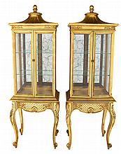 Pair Chinese Chippendale Revivial Curio Cabinets