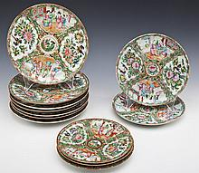 12 Chinese Rose Medallion Plates