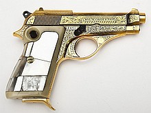 Beretta Gold Plated & Engraved Model 70 Pistol