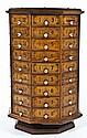 Antique Octagonal Revolving Hardware Cabinet