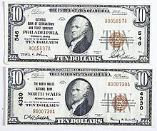 2 1929 $10 PA National Currency Notes North Wales