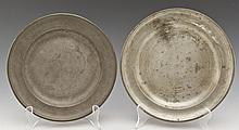 2 18th C Pewter Plates