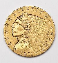 1911 Indian Head $2.50 Gold Quarter Eagle