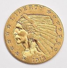 1913 Indian Head $2.50 Gold Quarter Eagle