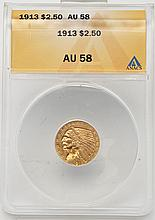 1913 Indian Head $2.50 Gold ANACS AU58