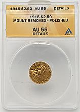 1915 Indian Head $2.50 Gold ANACS AU55 Details