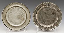 2 18/19th C Pewter Plates