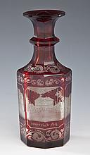 Bohemian Scenic Cranberry Cut to Clear Bottle