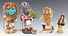 4 Native American Dolls incl Kachinas