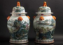 PAIR OF POTS WITH LID