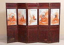 CHINESE FOLDING SCREEN WITH FIVE PANELS
