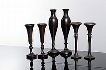 TWO PAIRS OF VASES AND PAIR OF CANDLESTICKS