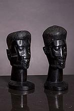 TWO MALE AFRICAN BUSTS