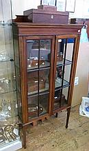 Edwardian mahogany inlaid display cabinet, with