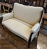 Edwardian mahogany and cream damask two seater