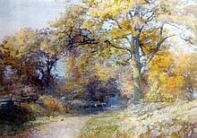 Watercolour Ernest Chadwick Autumnal rural scene,