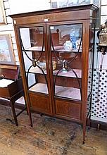 Edwardian inlaid mahogany china display cabinet,