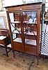 Edwardian inlaid mahogany china display cabinet,