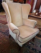 Wingside easy chair, in beige upholstery on