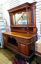 Large Edwardian walnut mirrorback sideboard, with