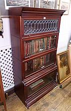 Modern mahogany Wernicke style bookcase, four
