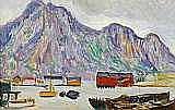 HALD, EDWARD, 1883-1980 Hamn vid Lofoten. Signerad