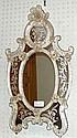 Väggspegel, glas, Murano, H. 88 cm. Bladornament
