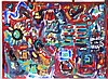 HAUPERT,  JIM  (  American 20-21st C.  )(abstract with red coloring and blue focus)