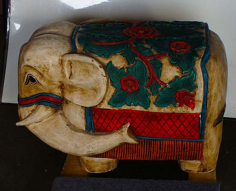 ASIAN CARVED WOODEN ELEPHANT,( )