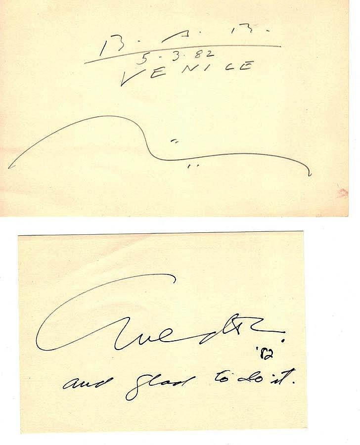 A COLLECTION OF ARTIST SIGNED INDEX CARDS (67),( )