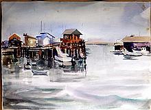 ELLISON,   J. MILFORD  (  American (1909-1993)  ) (little shops on pier)