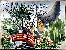ELLISON,    J. MILFORD  (  American (1909-1993)  ) (red bridge in park)
