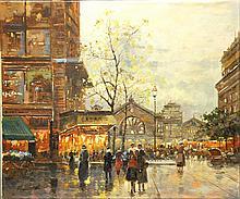 BLANCHARD,  ANTOINE,  SCHOOL OF,  SIGNED REMINGTON ?  ( French 20th C. (?)  )(Paris Street Scene)